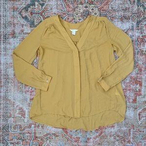 H&M Mustard Crepe Blouse Long Sleeve Tunic